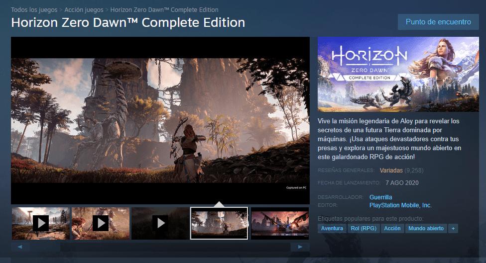 Horizon Zero Dawn en PC con variados dentro de Steam