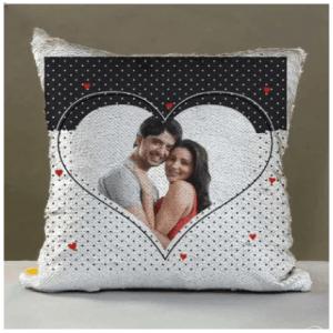 Big Heart Shape Personalized Sequin Cushion to Saudi Arabia