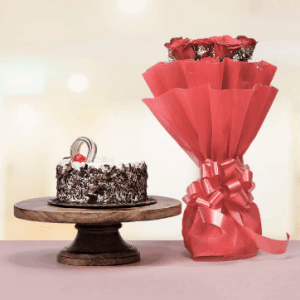 Black Forest Cake With Red Roses Bouquet