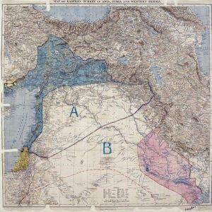 الخريطة الفعلية الاولية لسايكس بيكو