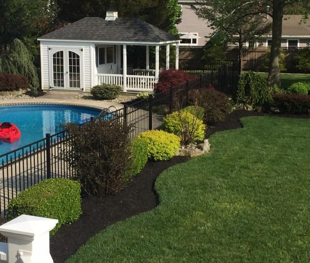 Backyard Pool Landscaping Mulch Pruning