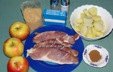 Pentru preparare aveti nevoie de urmatoarele ingrediente: 600 g pulpa de porc fara os, taiata in felii de cca. 1 cm grosime (la fel de bine puteti folosi muschi, cotlet sau ceafa de porc) ; 500 g mere; 500 g cartofi, curatati de coaja, taiati rondele si fierti aprox. 10 minute, in apa cu putina sare; 100 g unt, adus la temperatura camerei; scortisoara macinata; zahar brun; ierburi de Provence; sare; piper negru, proaspat macinat.