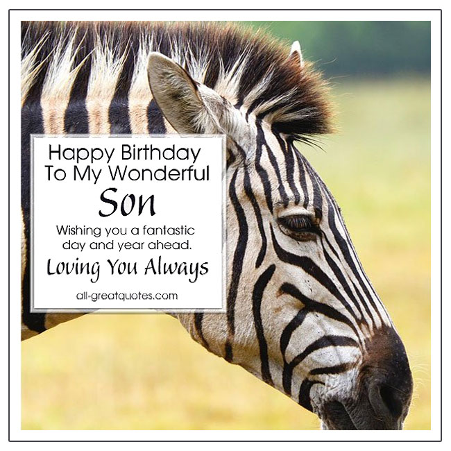 Happy Birthday To My Wonderful Son Free Birthday Cards For Son