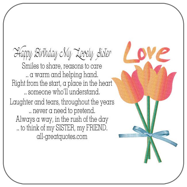 Happy Birthday My Lovely Sister Birthday Cards