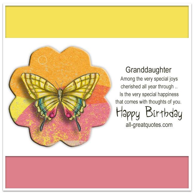 Happy Birthday Granddaughter Facebook Greeting Cards