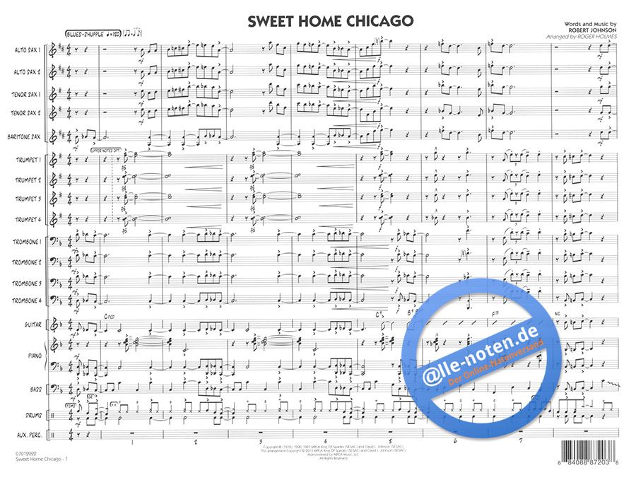 Although he is often credited as the songwriter, several songs have been identified … Sweet Home Chicago The Blues Brothers Jazz Ensemble Sheet Music
