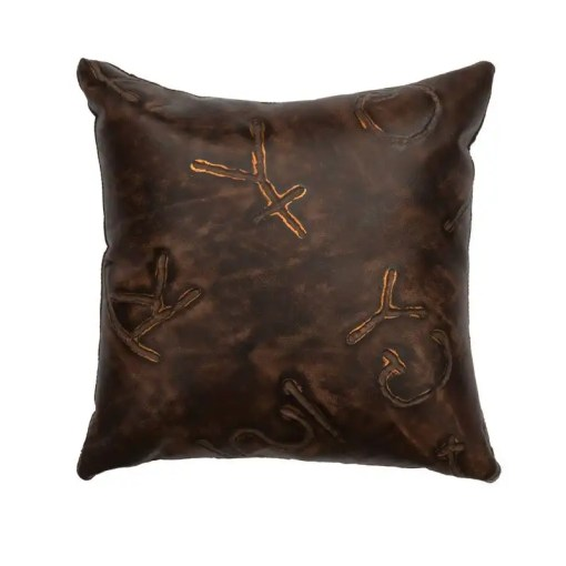 Branded Leather Throw Pillow
