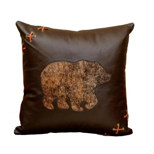 Leather Bear Throw Pillow