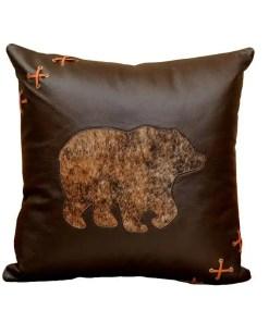 Leather Bear Throw Pillow