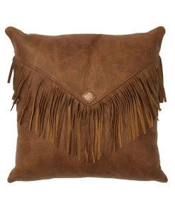 Whiskey Leather Fringe Pillow