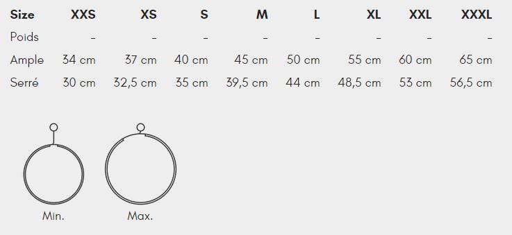 Guide des tailles collier Rock Non-StopDogwear