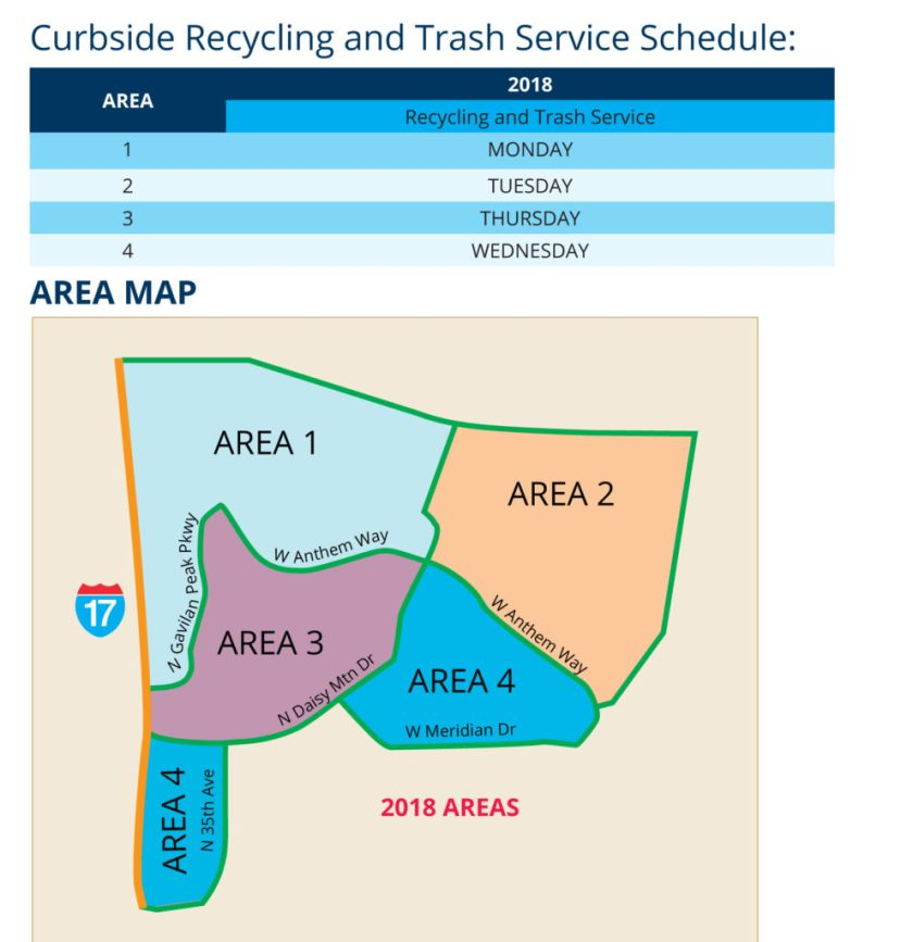 Curbside Recycling and Trash Service Schedule for Anthem Arizona