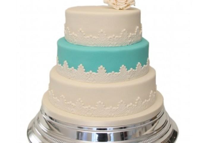 Blue White Rose 3 Tier Wedding Cake