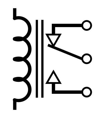 A schematic symbol for an electromechanical relay.