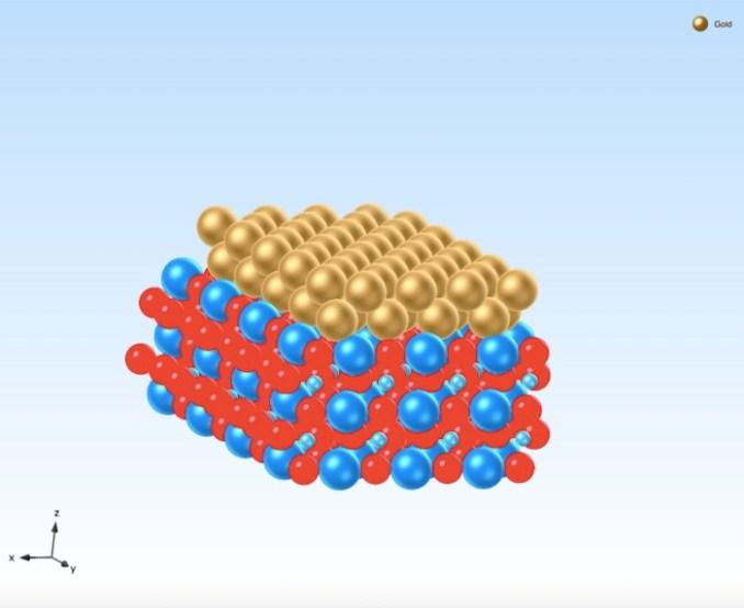 An atomic model of a gold-strontium titanate Schottky interface