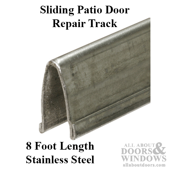patio glass door v track 9 16 in width 8 ft length stainless steel