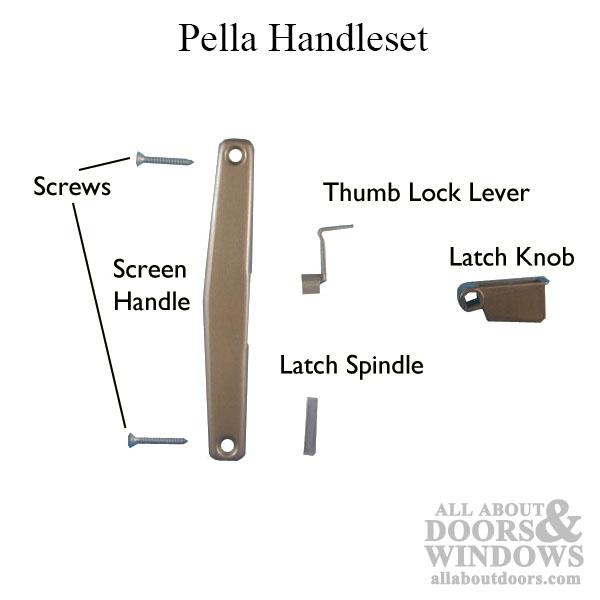 pella handle set patio screen door copperite choose handing