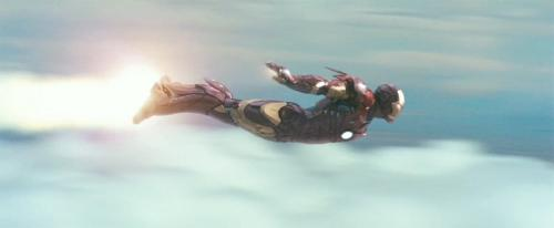 Iron Man flying from the 2008 Iron Man movie