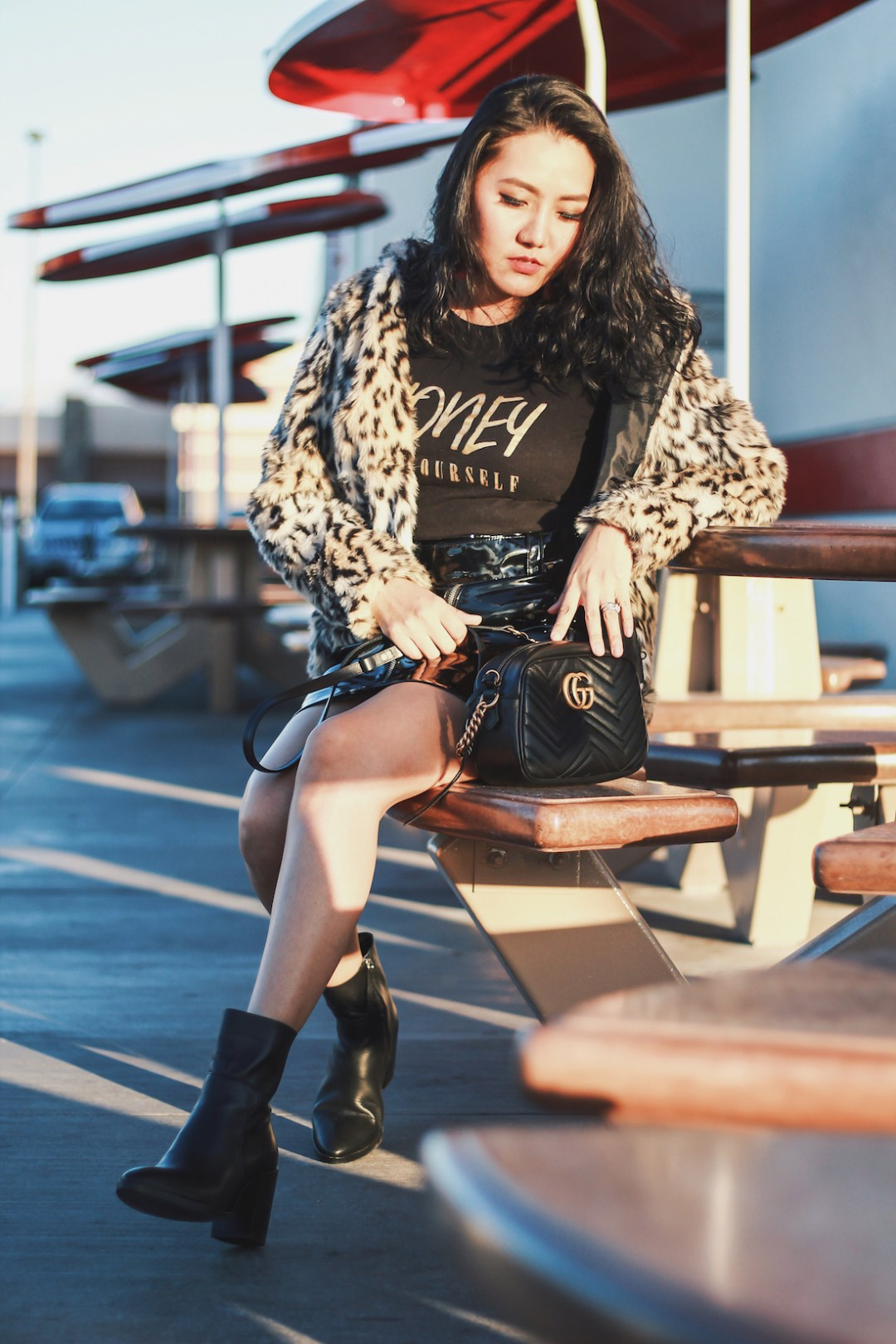 Winter-Outfit-Honey-Be-Yourself-Graphic-Tee-Leopard-Print-Jacket-Patent-Skirt