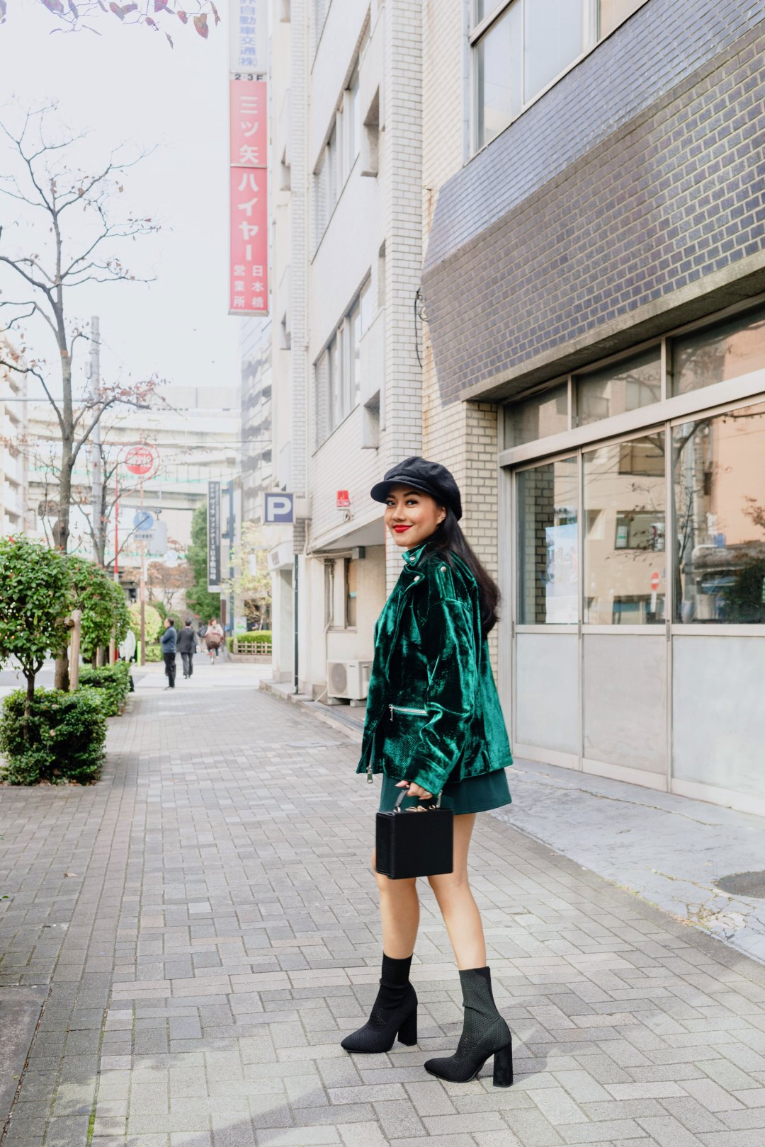 Holiday Outfit Green Velvet Jacket Mini dress Sock Boots Molly Larsen Beauty and Style Rizona Blogger IG @TheVibesCloset_1
