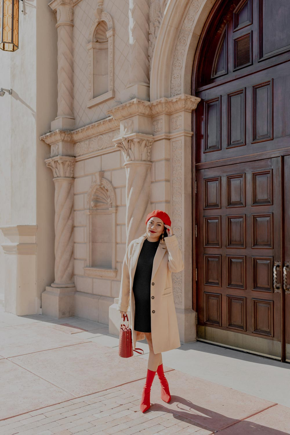 Last Minute Holiday Outfit | Pop of Colors with A Beige Coat #GoodVibesGifting Day 2