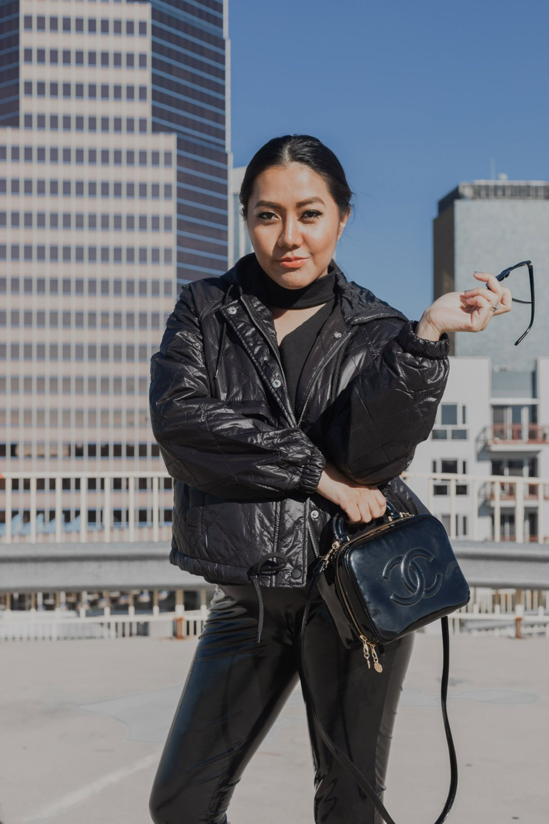 Fall/ Winter Outfit Idea | Vinyl Leggings and Quilted Jacket | Black on Black #GoodVibesGifting Day 4
