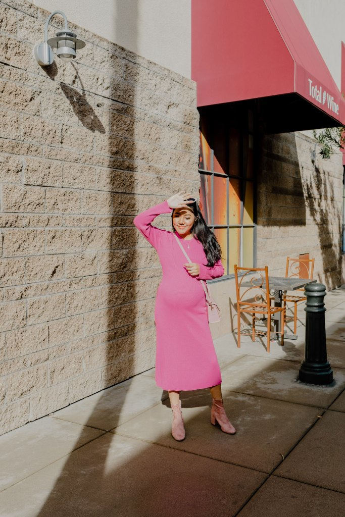 Top Handle Pink Vegan Handbag allaboutgoodvibes.com Molly Larsen Style blogger IG @thevibescloset in Pink sweater dress and pink suede boots_3