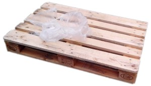An empty standard EUR pallet