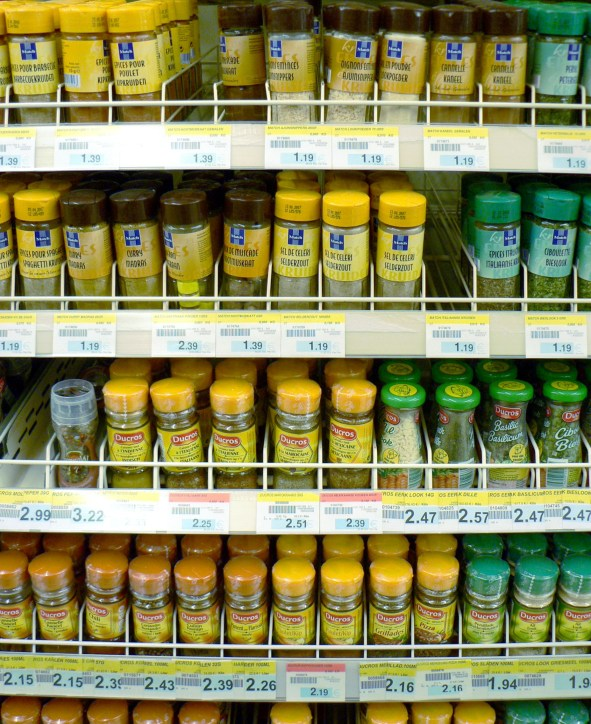 Spices in a supermarket shelf