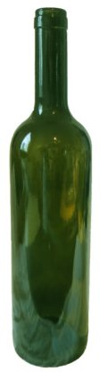 One empty green wine bottle