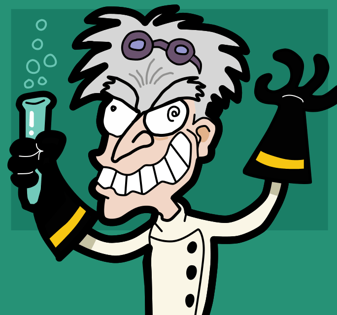 Caricature of a mad scientist