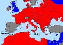 Political Map WWII Mediterranean