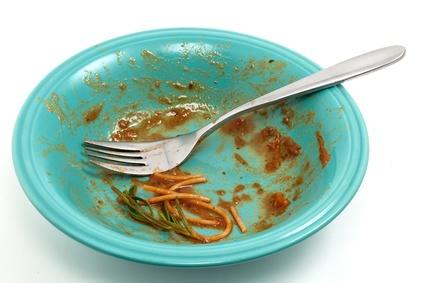 Dirty plate of spaghetti