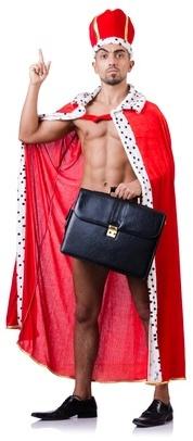 Naked king businessman