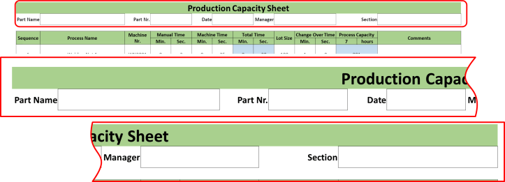 Production Capacity Sheet Header