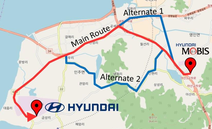 Hyundai Mobis Asan JIT Supply Route and Alternatives