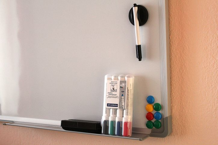 Whiteboard markers, eraser, and magnets