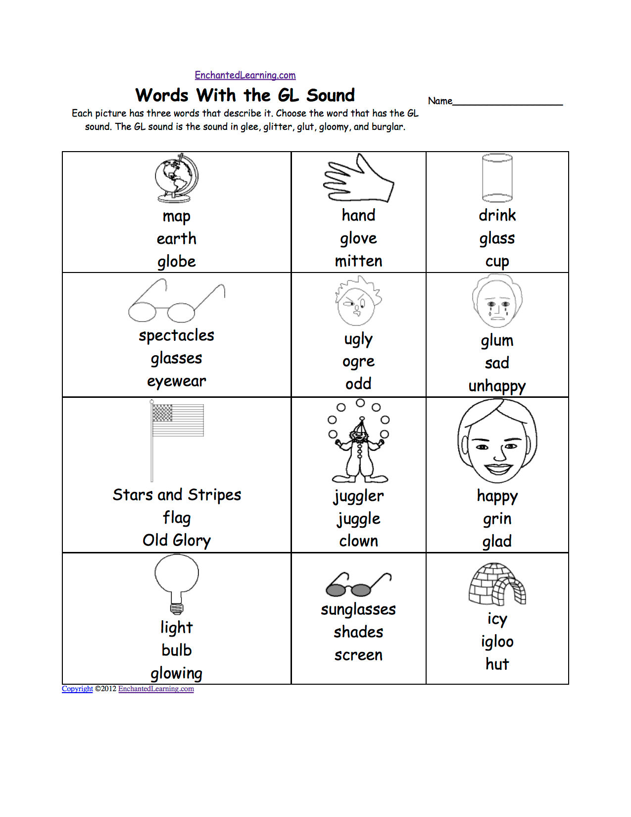 Gl Sound Phonics Worksheet Multiple Choice