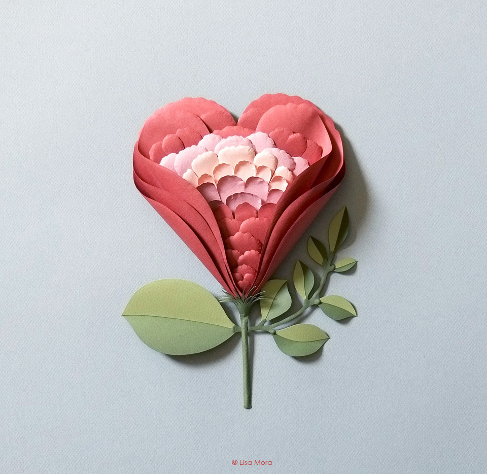 Flowerheart paper sculpture all about papercutting heart flower mightylinksfo