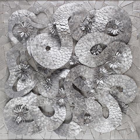 Paper construction collage by Michael Velliquette