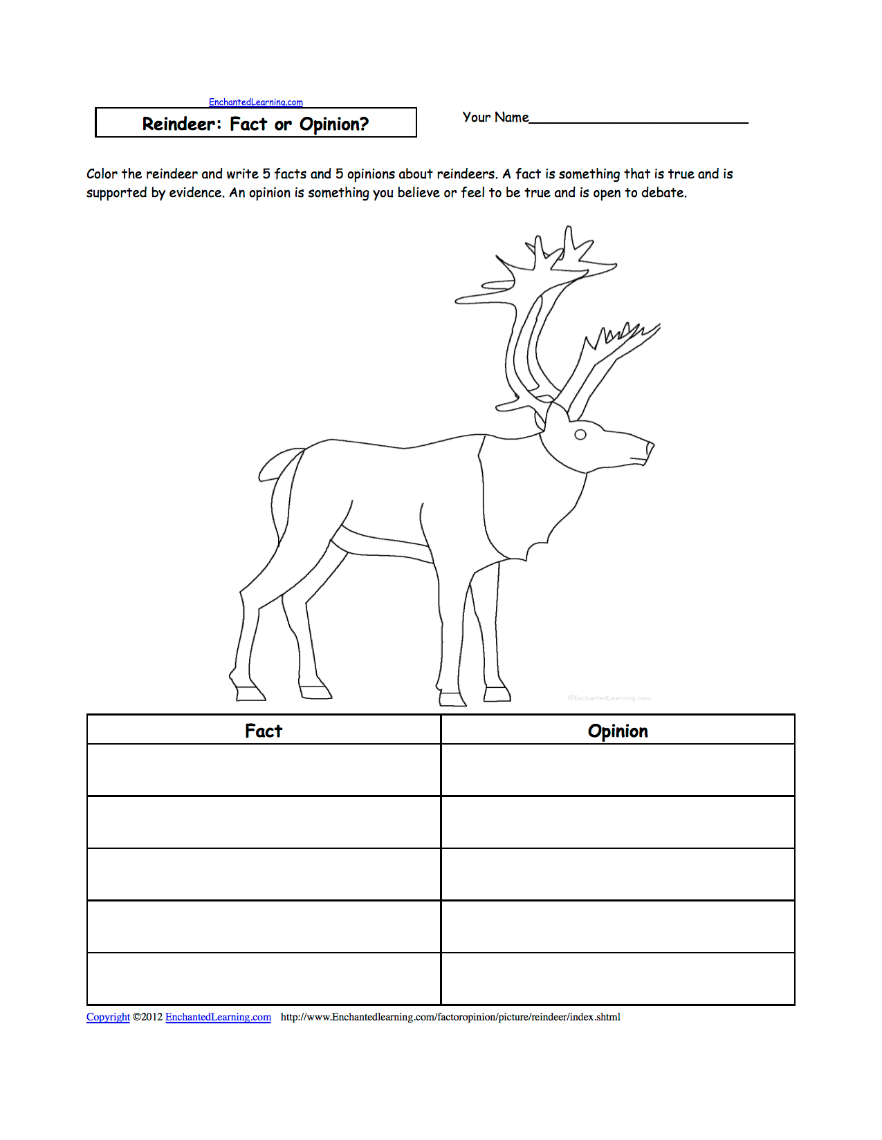 Reindeer At Enchantedlearning