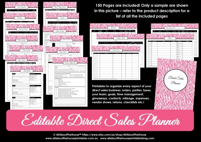 direct sales planner editable printable editable fillable PDF weekly monthly parties hostess order mileage team contacts bookings pink zebra planner