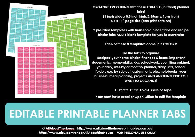 editable printable planner tabs diy planner accessories pink purple green light blue dark blue black grey rainbow recipe file tab labels school notebook