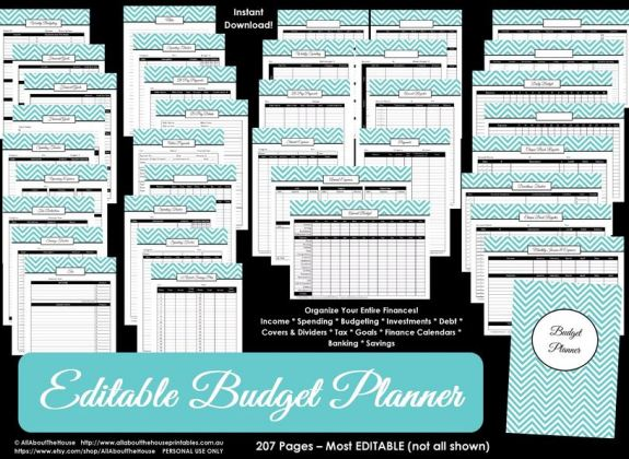 budget binder planner printable editable pdf chevron money management debt savings investment taxes spending accounts expenses bills budget monthly quarterly annual