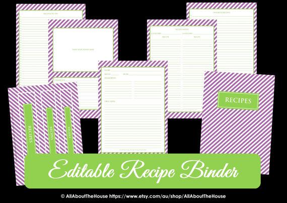 FREE purple green recipe binder printable recipe organization editable recipe card sheet