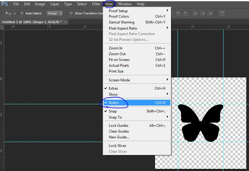 how to turn on rulers in photoshop