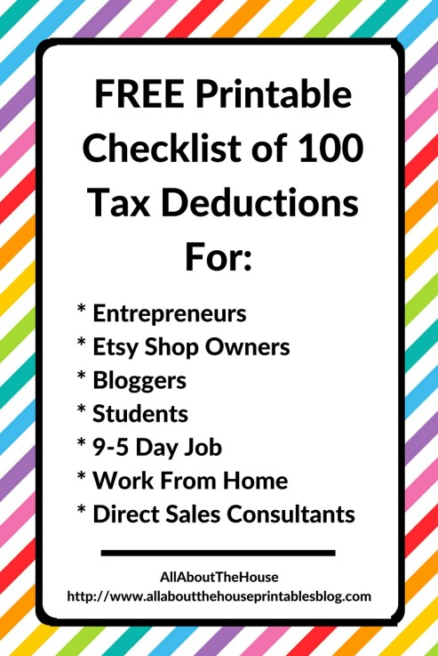 100 tax deductions for business owner, blogger, college student, entrepreneur, save on taxes, tax time, what can you claim