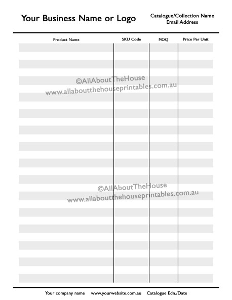 price line sheet template photoshop product catalogue, psd, layered, editable, wholesale, retail, lookbook, look book