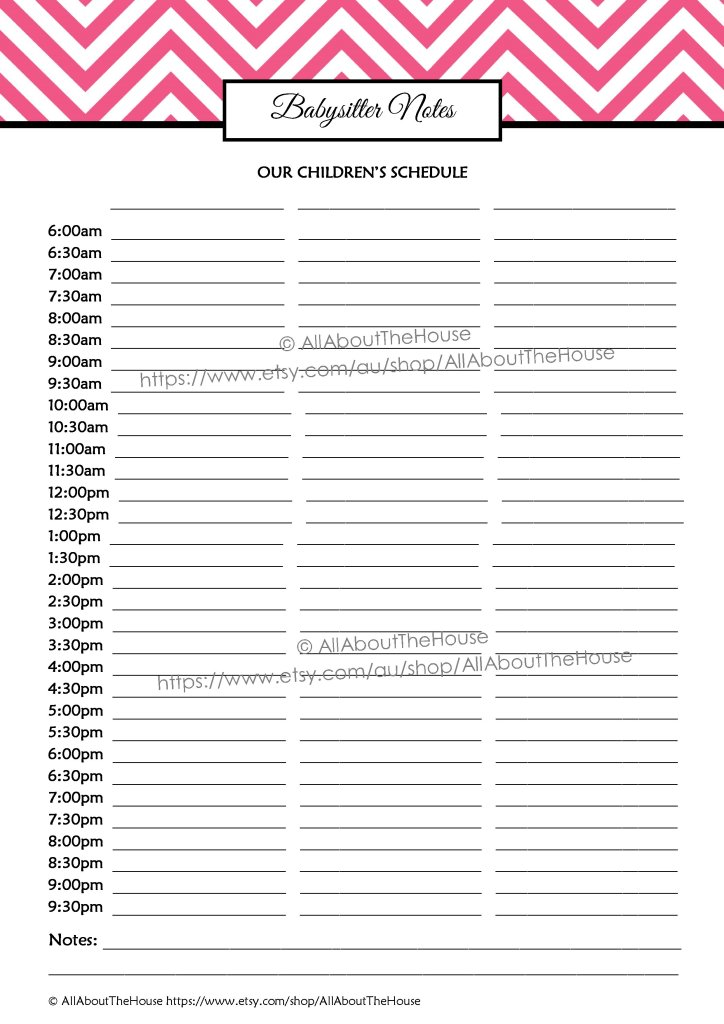 babysitter notes, kids schedule, nanny, daycare, school routine, household binder, family planner, organizer, printable, editable