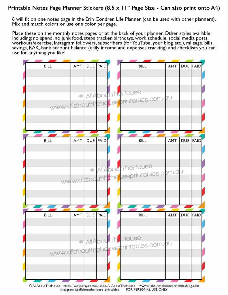 bill-due-printable-planner-insert-page-checklist-paid-bill-expenses-erin-condren-planner-stickers-eclp-vertical-hourly-horizontal-mambi-happy-planner